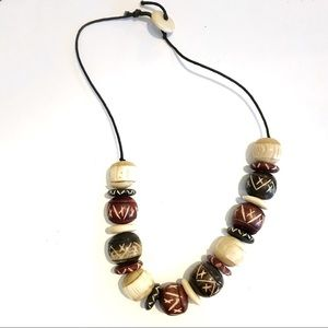 """Jewelry - Tribal Necklace Carved Beads Appx 20"""""""
